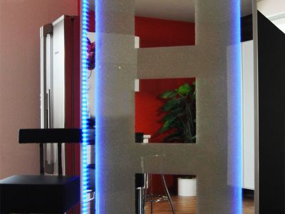 Glaszone Room Divider with crystal filling and blue RGB-lighting