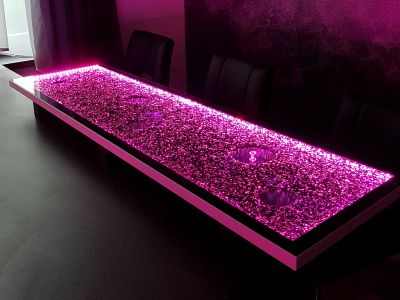 Glaszone Element Barplatte mit LED-Beleuchtung in violett