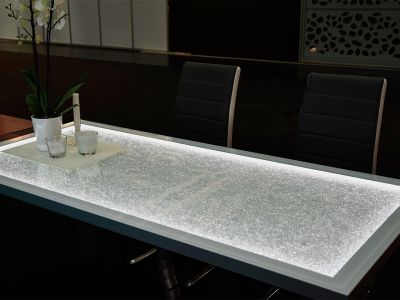 Glaszone Glass Table with crystal LED-lighting