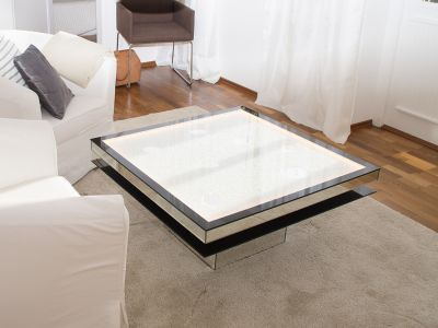 Glaszone Glass Table Shine with black enamel frame