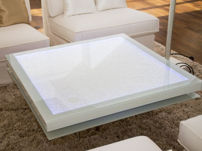 Glaszone Glass Table Shine with white enamel frame and RGB-lighting close-up
